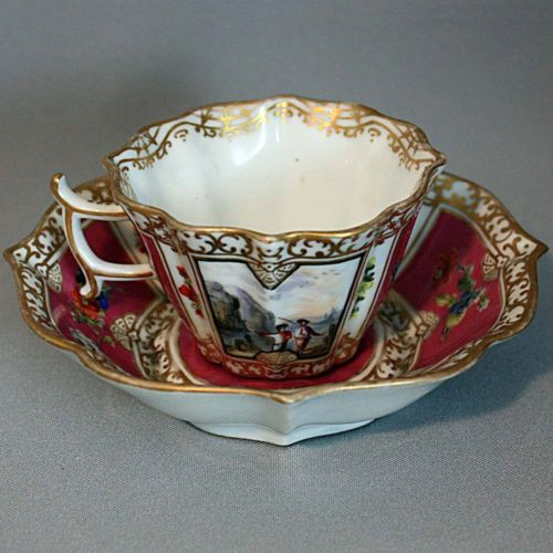 19th Century C Antique HELENA WOLFSOHN DRESDEN CUP and SAUCER SET Harbor Scenes
