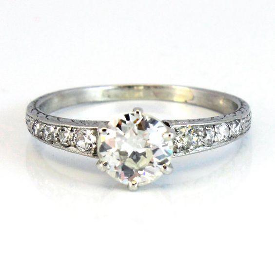 Platinum Antique Edwardian Art Deco European Cut Diamond Engagement Ring