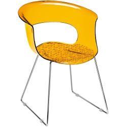 Auf Lager - Designer Stuhl orange transparent Kufengestell Miss B Antishock Sledge Scab Design