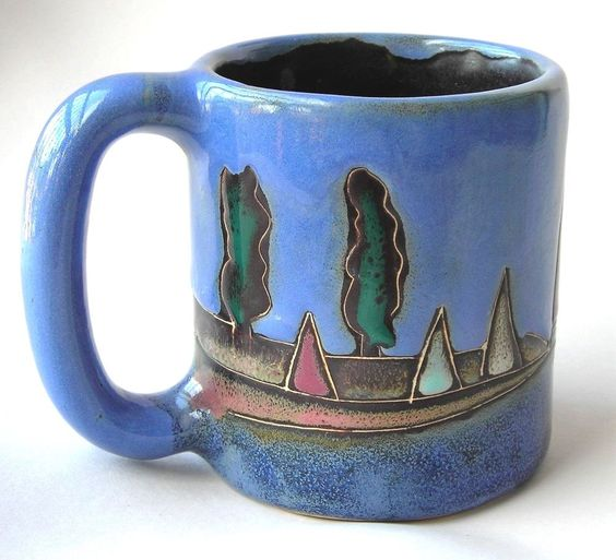 Handmade artisan coffee mug sailboats design signed by for Handmade mug designs