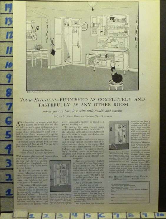 H 1924 Hoosier Kitchen Cabinet Cook Home Decor Furniture Vintage ART AD AH76 | eBay