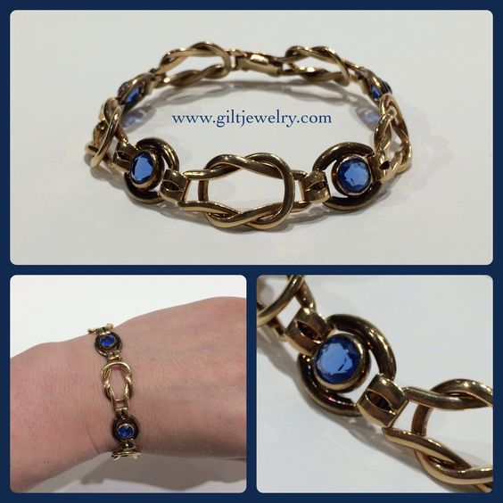 "A stackable gold-filled Retro bracelet with sparkly blue glass from the 1940s (7.25""). $95. Call to purchase. #giltjewelry #retro #1940 #loveknot #stacker #vintage #vintagebracelet #blue"