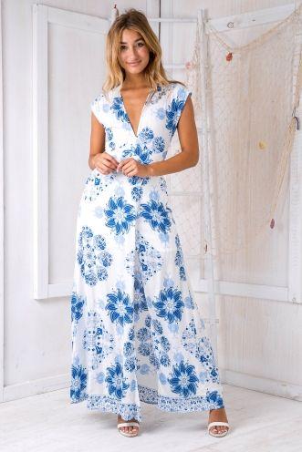 Ida maxi dress - White/Blue