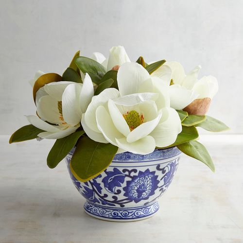 Faux Magnolia Arrangement In Ceramic Pot Flower Decorations Floral Arrangements Artificial Floral Arrangements