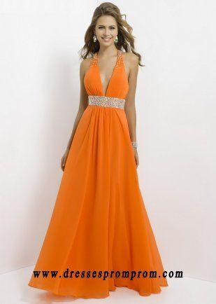 Deep V Neck Rhinestone Waist Open Back Orange Chiffon Long Prom Dresses