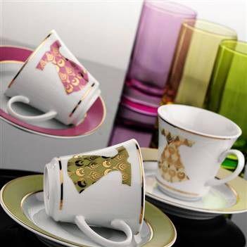 Kütahya Porselen Rüya 18 Parça Kaftan Kahve Fincan Takımı