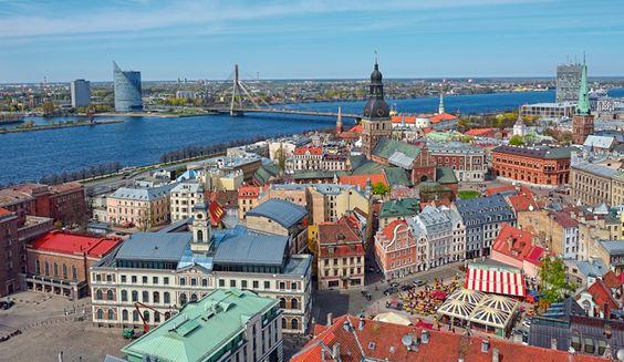 Vista aérea de Cidade Velha, em Riga