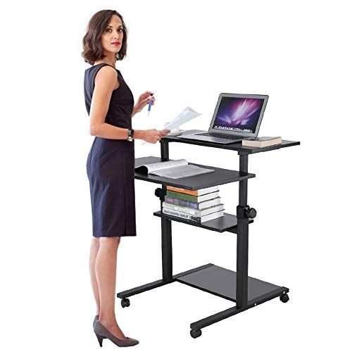 Mobile Stand Up Desk Laptop Computer Workstation On Wheels Height