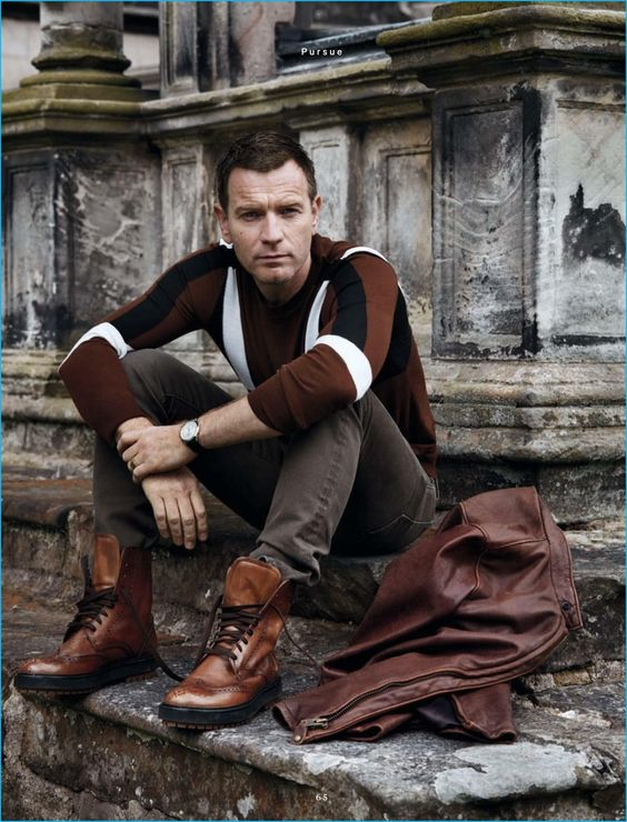 Ewan McGregor makes a rich fall statement in a Neil Barrett sweater with Tom…