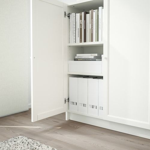 Billy Oxberg Bookcase With Doors White 31 1 2x11 3 4x41 3 4 Ikea In 2020 Ikea Bookcase Bathroom Solutions