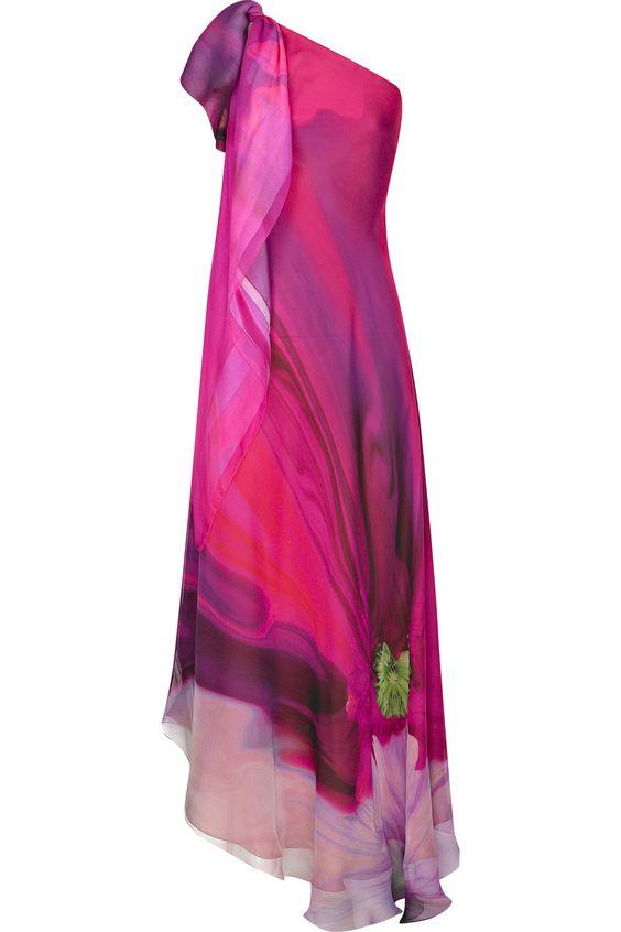 One-shoulder printed silk-chiffon gown by Roberto Cavalli