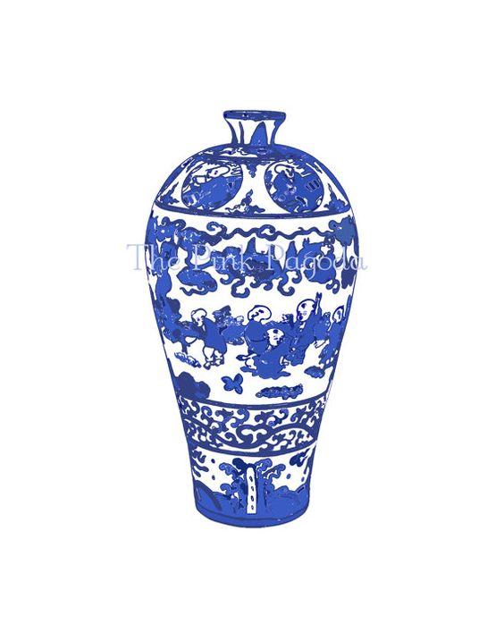 Set of Four Blue and White Chinese Vases Giclee