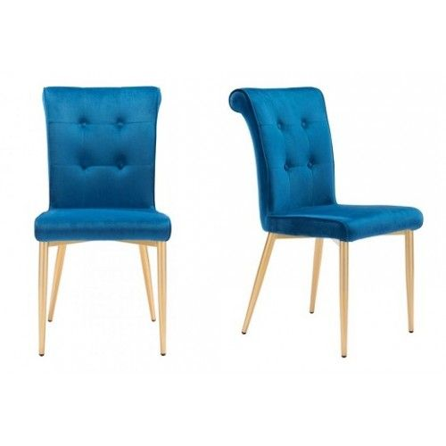 Bright Blue Velvet Button Tufted Dining Chair Gold Legs Set 2