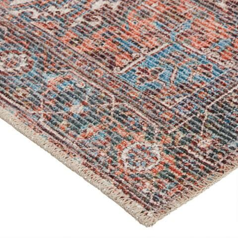 Blue And Red Distressed Persian Style Susa Area Rug World Market In 2020 Area Rugs Rugs Rug World