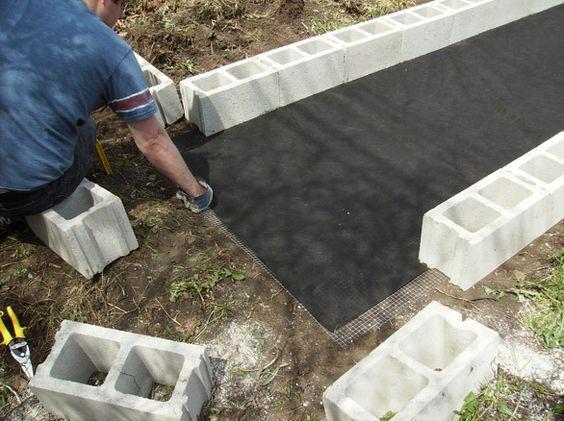Raised garden bed made with cinder blockshardware cloth and