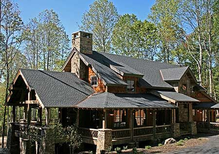 Plan 18709ck wrap around outdoor living area luxury for Craftsman log homes
