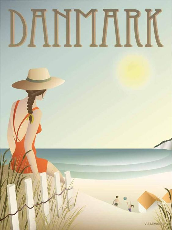 Danmark Stranden Plakat Plakater Billeder Vintage Plakater