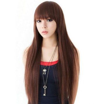 GP084 4/33 long straight full wig black wig black heat-resistant wig wig wig WIG heat full wig extension Women's Sale wedding mail order (japan import)