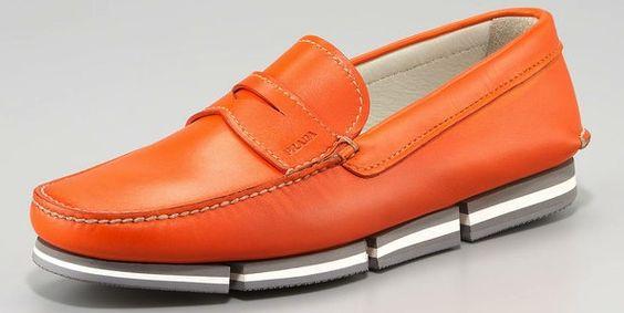 Orange Prada Penny Loafers