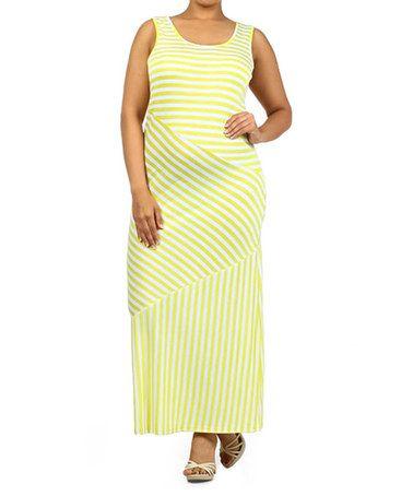Look at this #zulilyfind! Yellow & White Stripe Maxi Dress - Plus #zulilyfinds