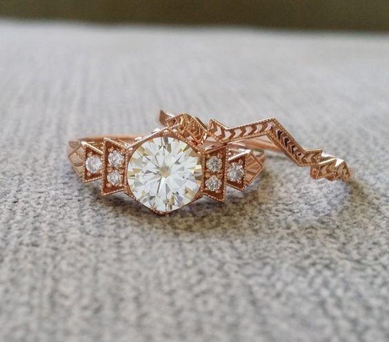 Antique Diamond FB Moissanite Engagement Ring Rose by PenelliBelle