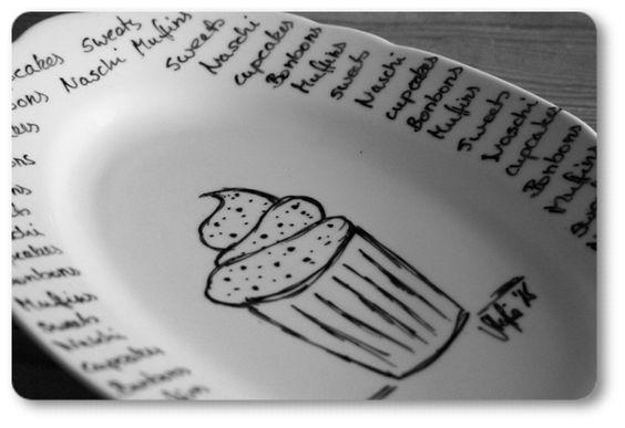 porcelain painting - bemalte Cupcakeplatte <3