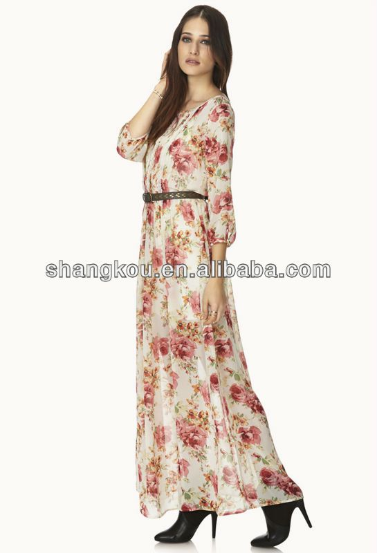 Floral Print 3/4 Sleeve Design Fashion Lady Summer Fancy Long ...