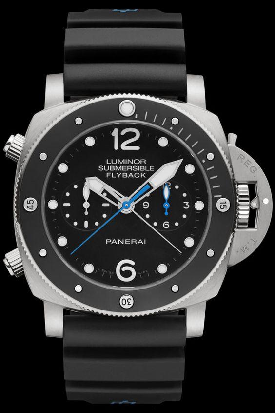 La Cote des Montres : La montre Panerai Luminor Submersible 1950 3 Days Chrono Flyback Automatic Titanio – 47Mm - un pur condensé de l'identité Panerai.
