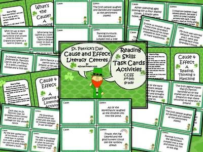 St. Patrick's Day Cause and Effect Literacy Centers Activities from Cool Teaching Tools on TeachersNotebook.com -  (20 pages)  - Three different cause and effect games and St. Patrick's Day fun! Learning about the traditions, history and legends behind the Irish patron saint,  these printable cards are incredibly fun