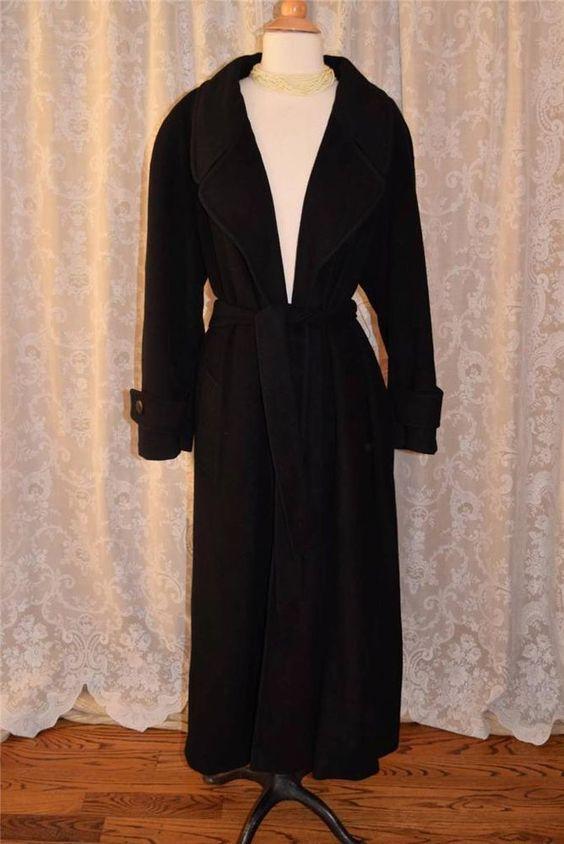 Neiman marcus black regency cashmere full length belted coat size