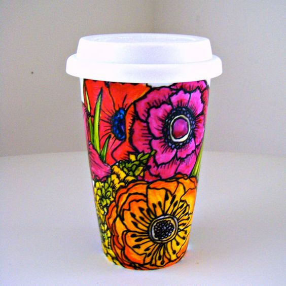 Ceramic Travel Mug Flowers Poppy Garden Spring by sewZinski