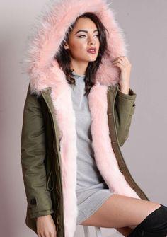 Pink Faux Fur Hooded Full Padded Parka Coat Khaki Green ..I want