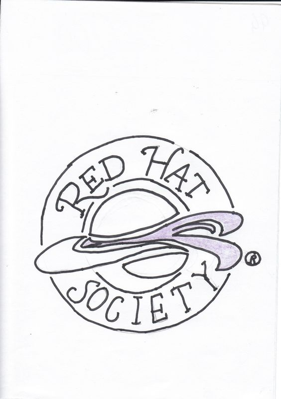 The Red Hat Society is a society exclusively for women over the age over 50.  They identify themselves by wearing a red hat with a purple/mauve feather.