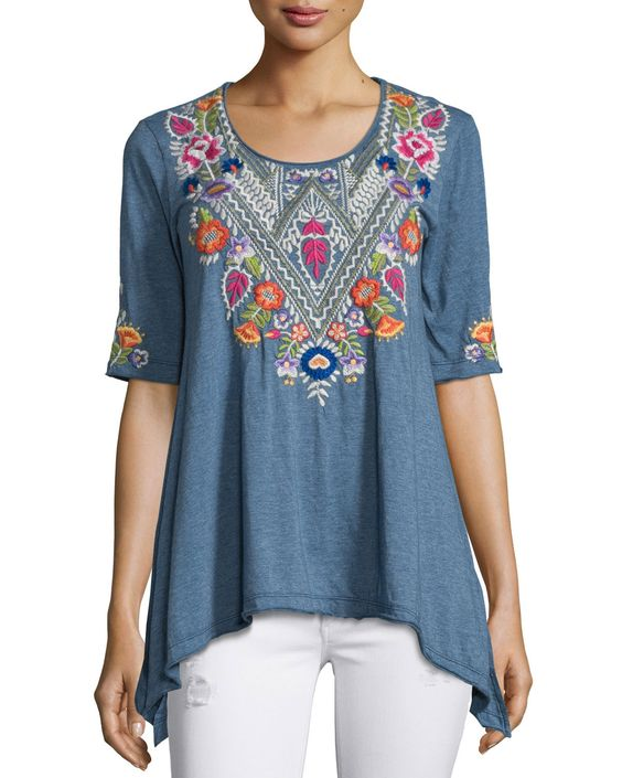 Josephine Half-Sleeve Floral-Embroidered Trapeze Tee, Women's, Size: 3X (26W), Heather Grey - JWLA for Johnny Was