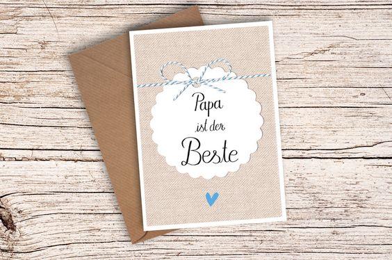 ♥+Papa+ist+der+Beste+♥+Karte+Umschlag+Vatertag+von+einfachSchön+auf+DaWanda.com