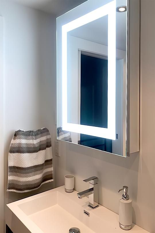 Lighted Led Bathroom Mirror Medicine Cabinet 24 Wide Wide X 32 Tall Surface Mounted Hinged On Left 6 000 Kelvin Medicine Cabinet Mirror Led Mirror Bathroom Bathroom Mirror
