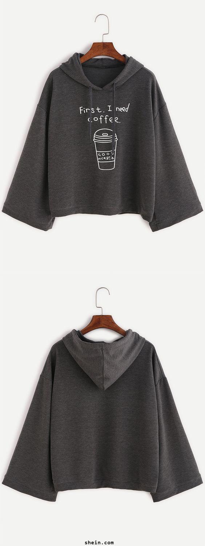 Cute batwing hoodie. Loose fit & beautiful on. Dark Grey Funny Print Hooded Sweatshirt at shein.com.:
