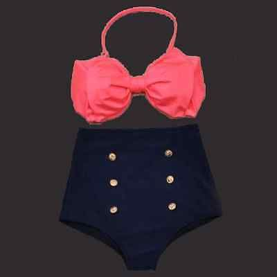 Vintage Retro Pin Up High Waisted Bikini Bow Swimsuit Coral Navy Blue S M L XL
