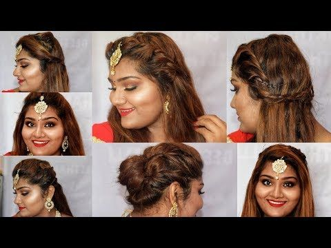 Diwali Easy 7 Hairstyle Hairstyle For Tikka Indian Wedding Guest Hairstyle 5minhairsty Hairdo Wedding Wedding Reception Hairstyles Hair Styles