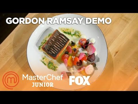 gordon ramsay s pan roasted sea bass with cauliflower puree season 5 masterchef junior youtube in 2020 gordon ramsay cauliflower puree sea bass gordon ramsay cauliflower puree sea bass