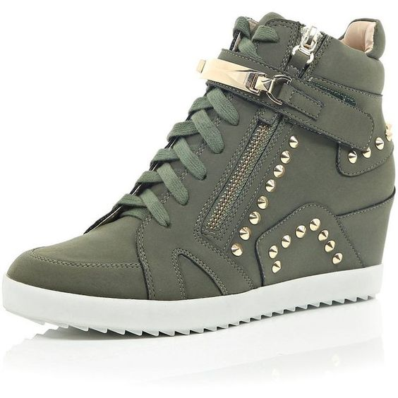 River Island Khaki studded wedge high top sneakers ($110) found on Polyvore featuring shoes, sneakers, khaki, plimsolls / sneakers, shoes / boots, women, wedge heel sneakers, wedge high tops, studded wedge sneakers and plimsoll sneaker