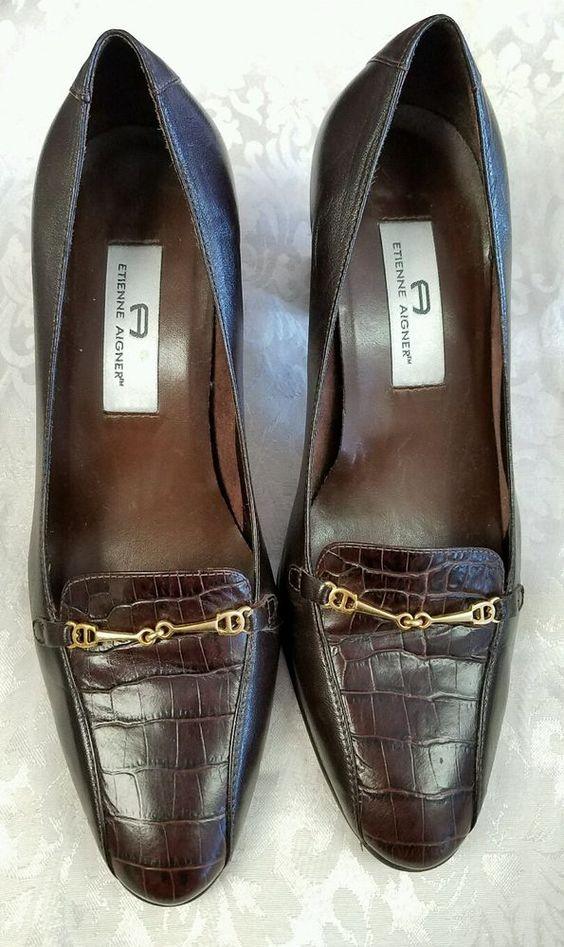 Etienne Aigner Women's Brown Heels  Shoes Size 8.5 Wide Guinevere #EtienneAigner…