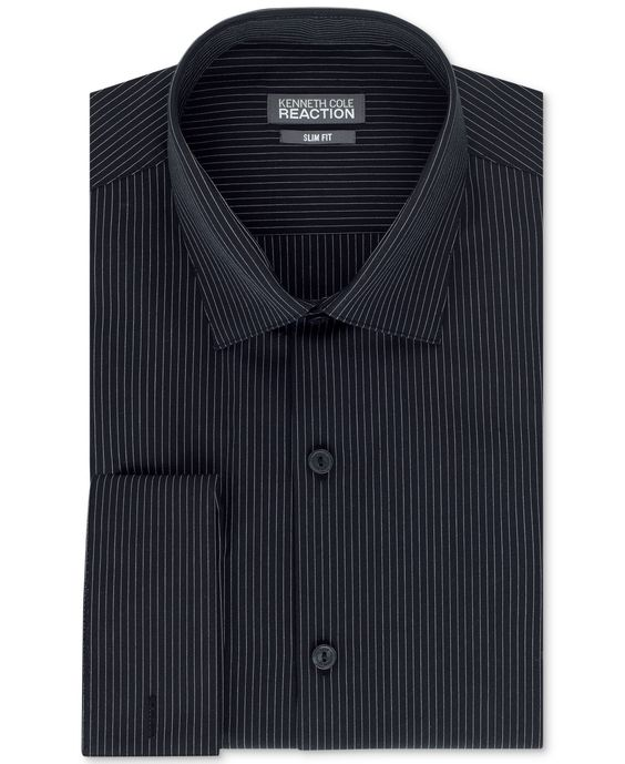 Kenneth Cole Reaction Slim-Fit Jet Black Stripe French Cuff Shirt