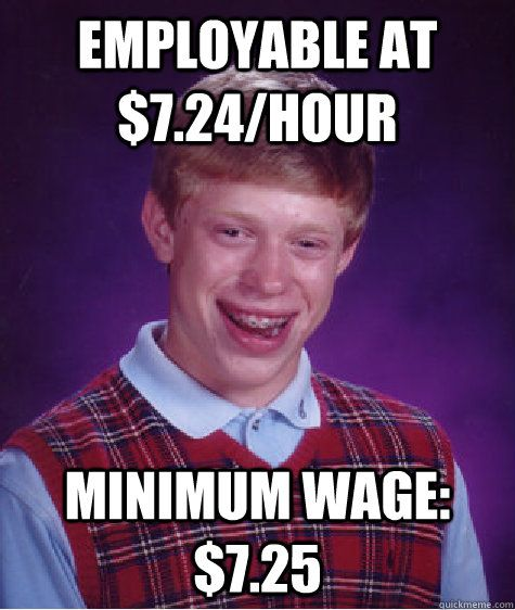 Minimum Wages Might Mean Fewer Benefits So Let S Not Fightfor15 Bad Luck Brian Memes Bad Luck Brian Seriously Funny