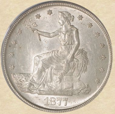 1877-S Trade Dollar MS61 PCGS, obverse