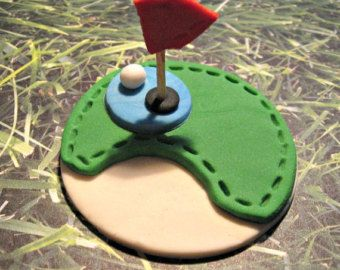 Golf Fondant Cupcake,Cake, Cookie Toppers Set of 12 (one dozen) by prettypartydetails. Explore more products on http://prettypartydetails.etsy.com