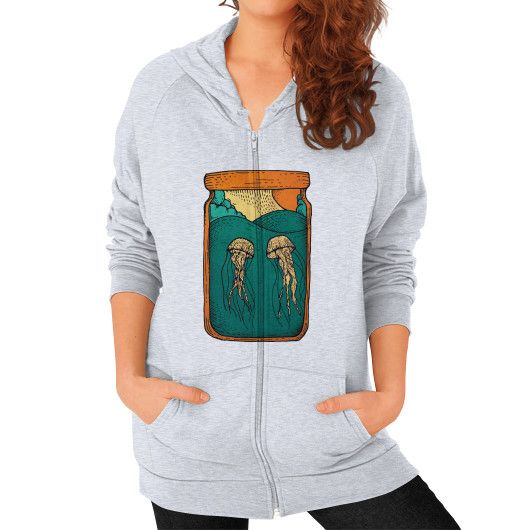 JELLYFISH IN THE BOTTLE Zip Hoodie (on woman)