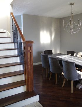 Benjamin Moore Thunder---a shade darker than the popular -- Revere Pewter.  Beigey gray color.
