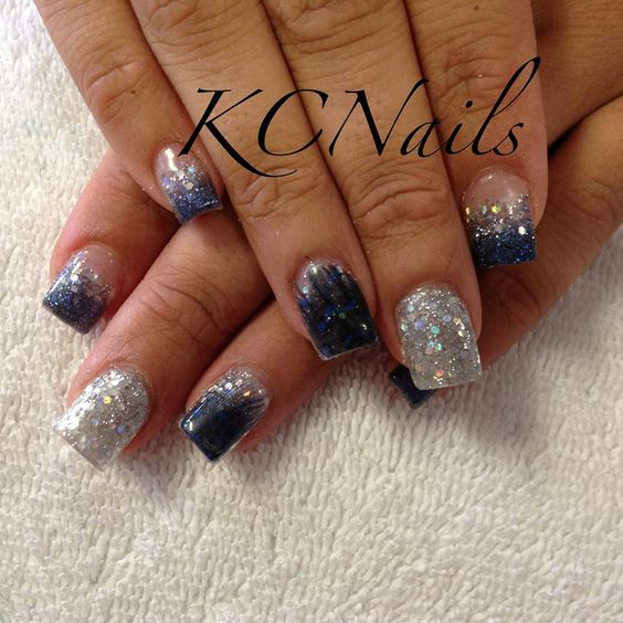 Feather acrylic nails. Blue and silver, incased feather details ...