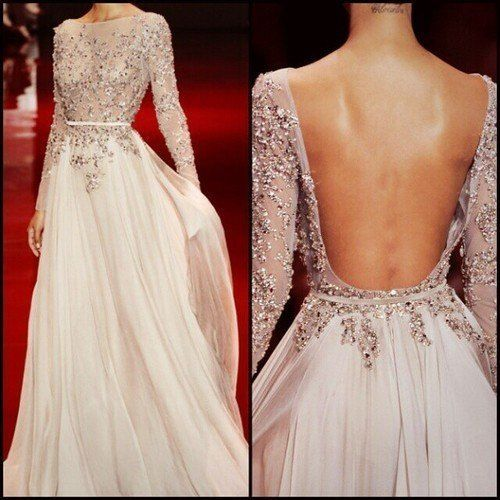 A-Line Sexy Backless Beaded Long Sleeve Silver Chiffon Party Formal Evening Gown